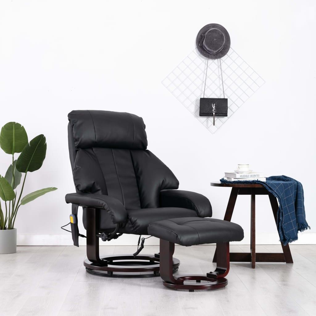 vidaXL Fotoliu de masaj rabatabil pentru TV, negru, piele ecologică imagine vidaxl.ro