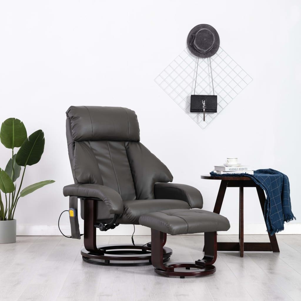 vidaXL Masážní polohovací TV křeslo šedé umělá kůže