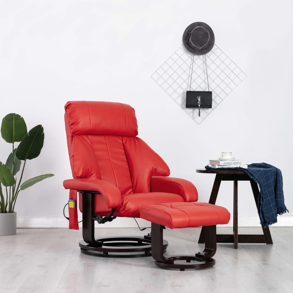 vidaXL Fotoliu de masaj rabatabil pentru TV, roșu, piele ecologică poza vidaxl.ro