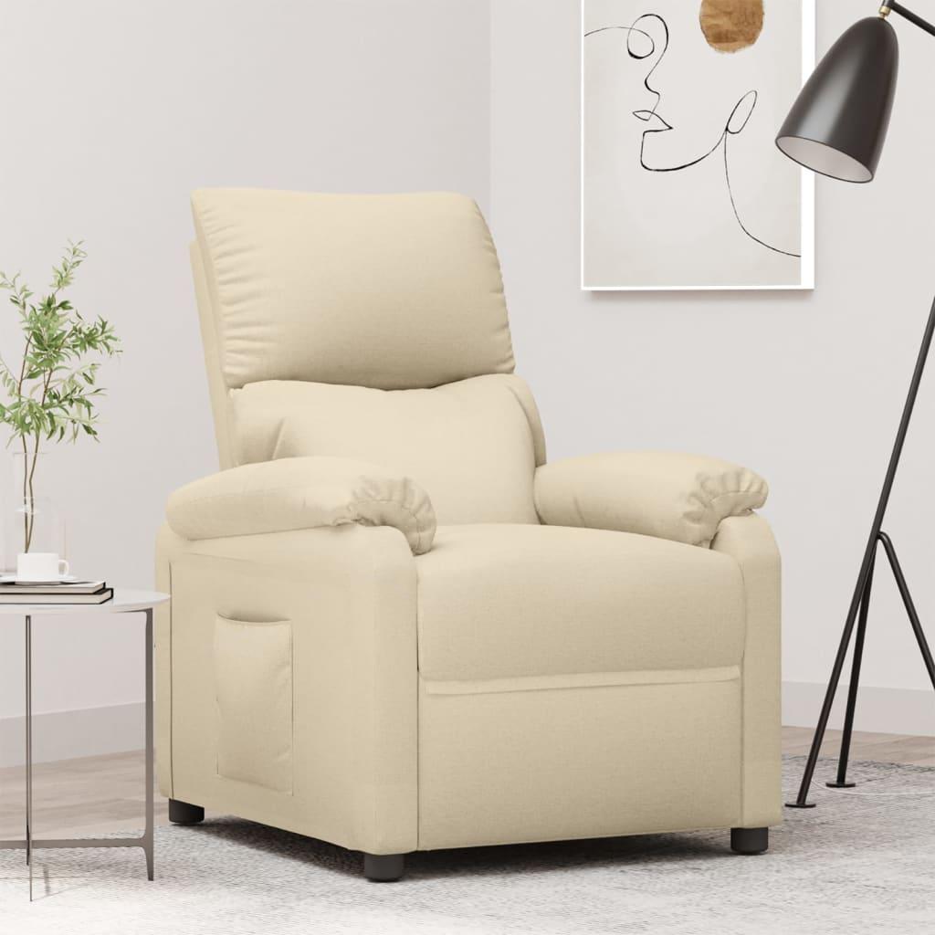 vidaXL Fotoliu rabatabil pentru TV, crem, material textil poza 2021 vidaXL