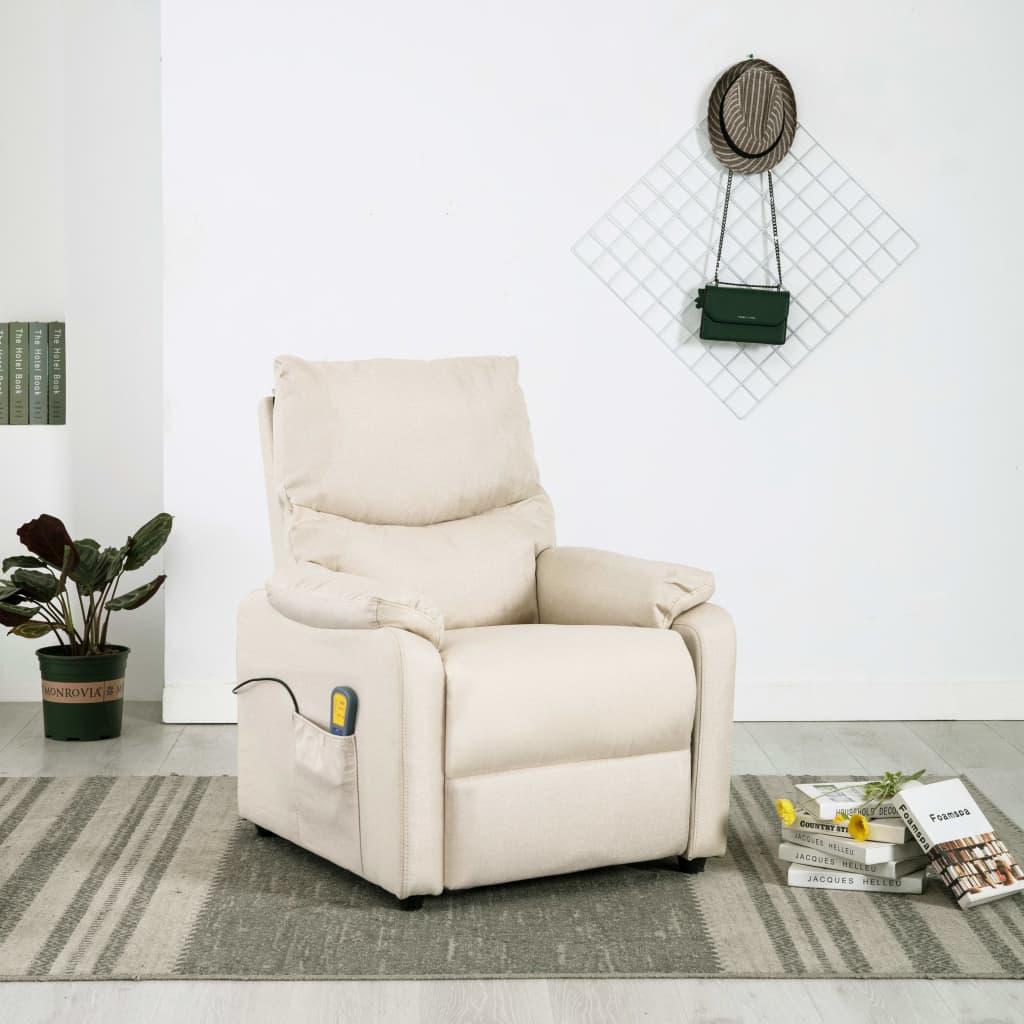 vidaXL Rozkładany fotel przed telewizyjny z masażem, kremowy, tkanina