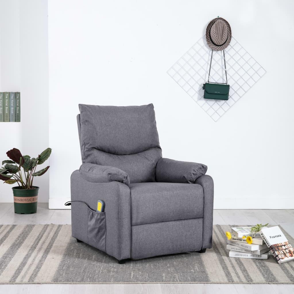 vidaXL Rozkładany fotel telewizyjny z masażem, jasnoszary, tkanina
