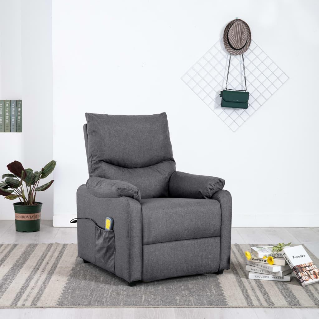 vidaXL Fotoliu TV de masaj rabatabil, gri închis, material textil imagine vidaxl.ro