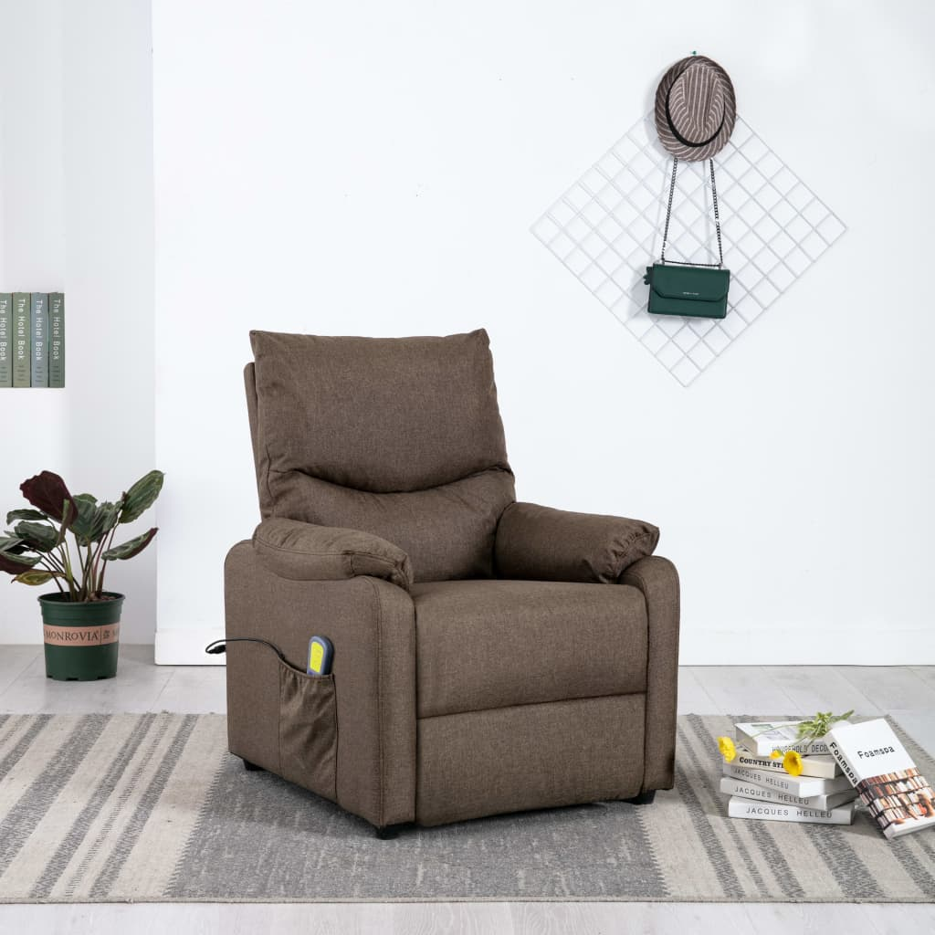 vidaXL Fotoliu TV de masaj rabatabil, maro, material textil imagine vidaxl.ro