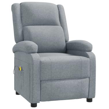 vidaXL Atlošiamas masažinis krėslas, šviesiai pilkas, audinys[2/11]