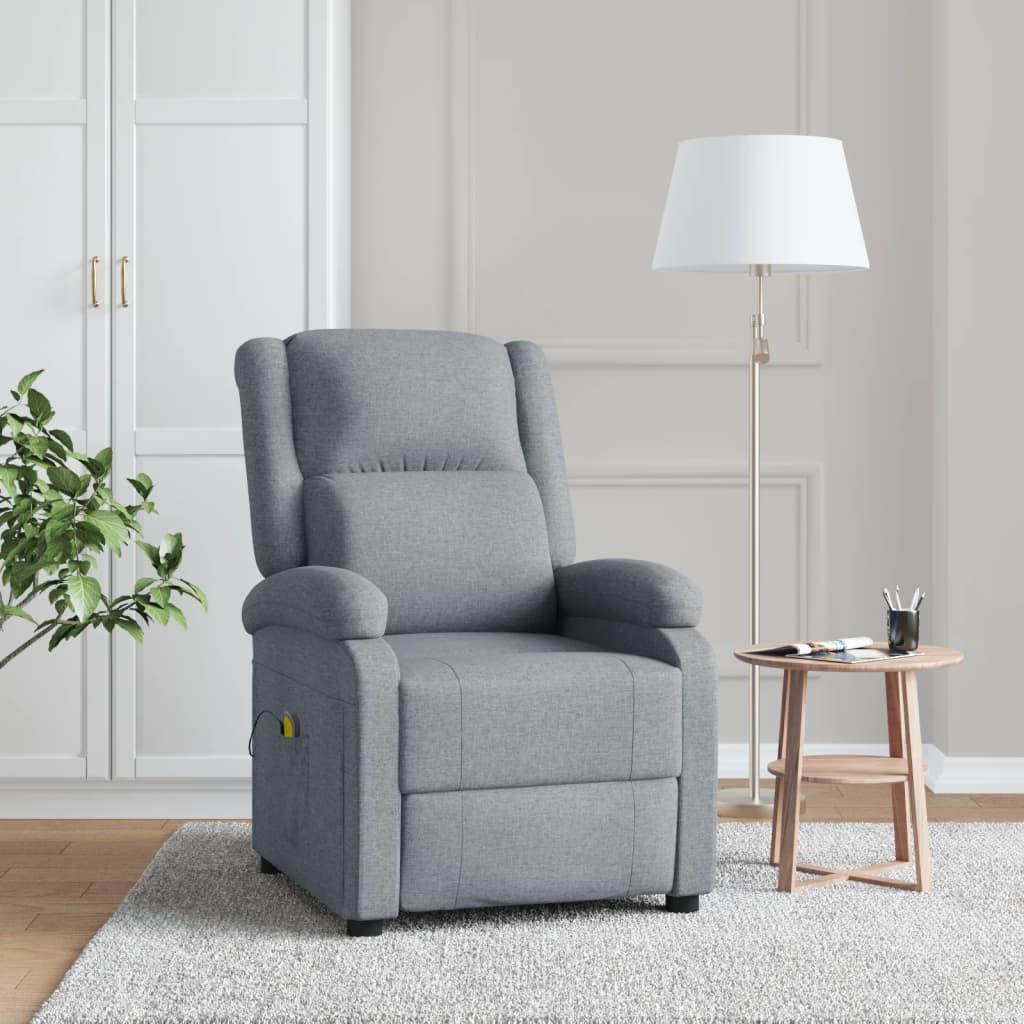 vidaXL Fotoliu de masaj rabatabil, gri deschis, material textil poza 2021 vidaXL