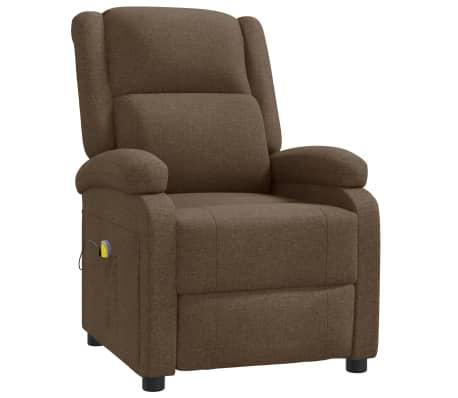 vidaXL Atlošiamas masažinis krėslas, rudas, audinys
