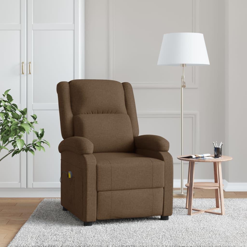vidaXL Fotoliu de masaj rabatabil, maro, material textil imagine vidaxl.ro