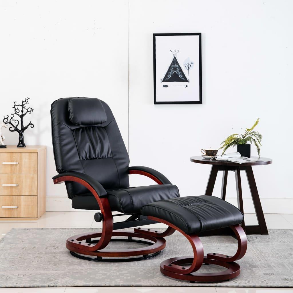 vidaXL Rozkładany fotel z podnóżkiem, czarny, sztuczna skóra
