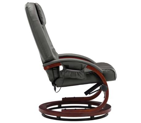 vidaXL Poltrona Massaggi Reclinabile con Poggiapiedi Grigia Similpelle[5/11]