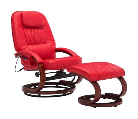 vidaXL Masažni fotelj s stolčkom za noge rdeč iz umetnega usnja