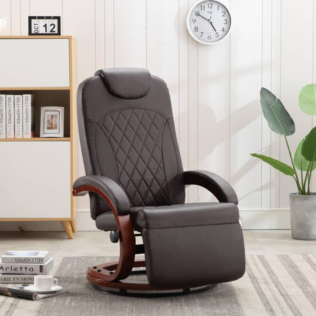 vidaXL Rozkładany fotel telewizyjny, brązowy, sztuczna skóra