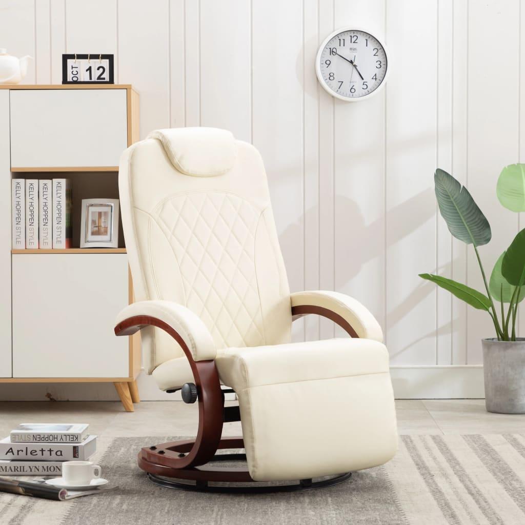 vidaXL Rozkładany fotel telewizyjny, kremowa biel, sztuczna skóra