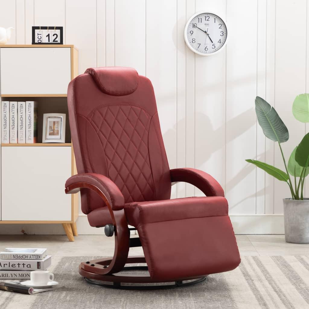 vidaXL Rozkładany fotel telewizyjny, czerwone wino, sztuczna skóra