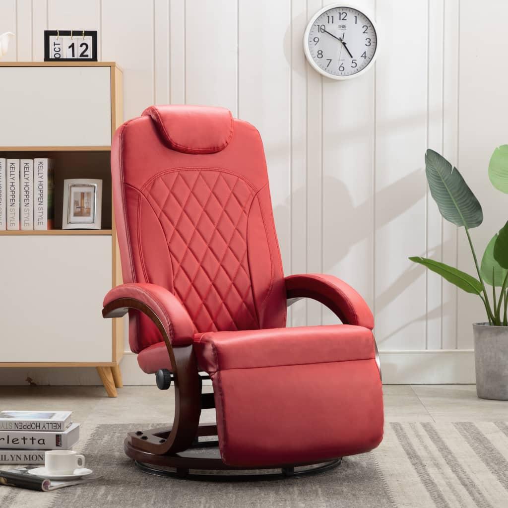 vidaXL Rozkładany fotel telewizyjny, czerwony, sztuczna skóra
