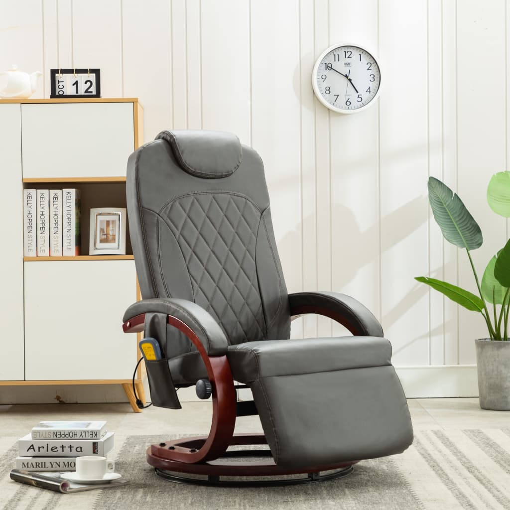 vidaXL Fotoliu de masaj rabatabil pentru TV, gri, piele ecologică imagine vidaxl.ro