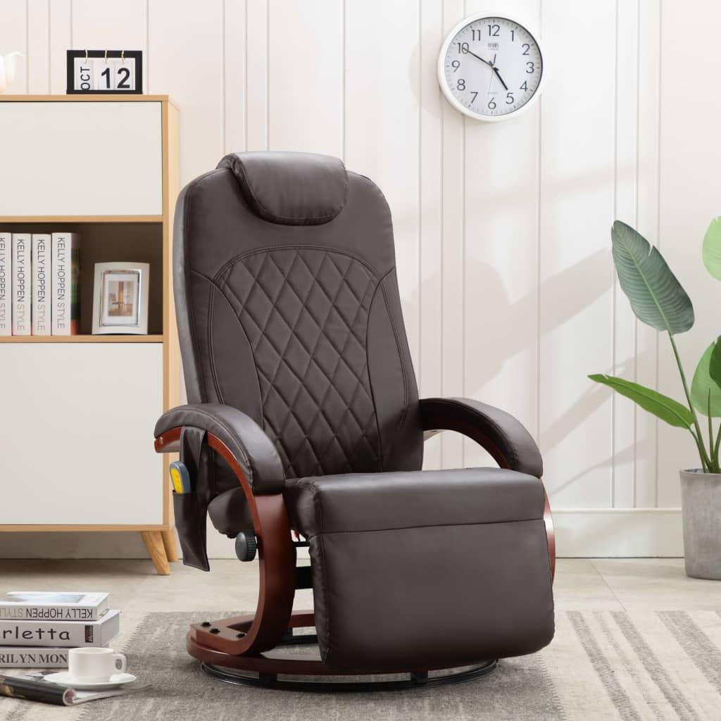 vidaXL Telewizyjny fotel masujący, regulowany, brązowy, sztuczna skóra