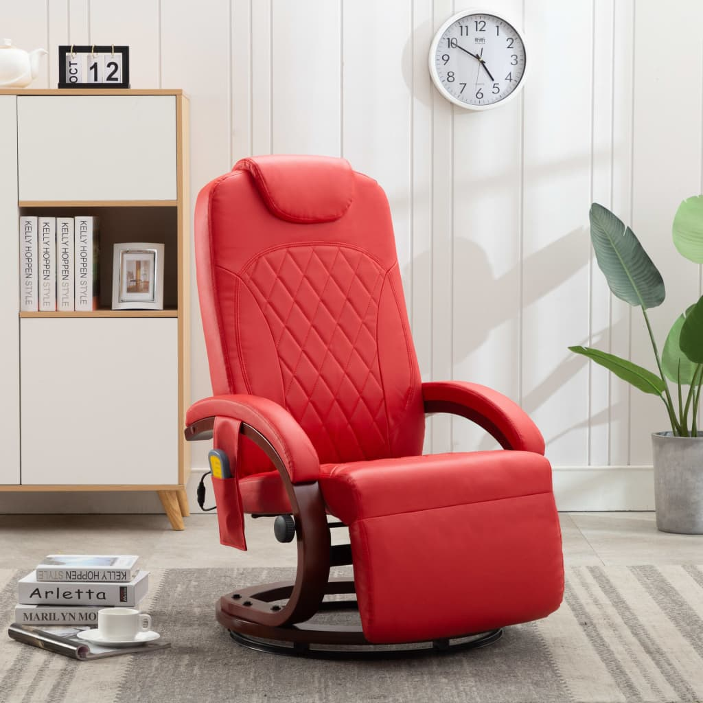 vidaXL Telewizyjny fotel masujący, regulowany, czerwony, ekoskóra