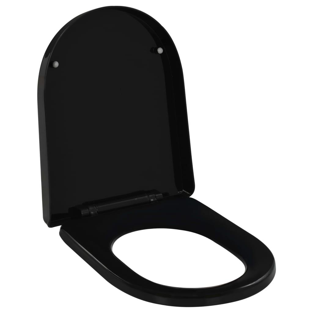 vidaXL Capac WC închidere silențioasă, eliberare rapidă, negru imagine vidaxl.ro