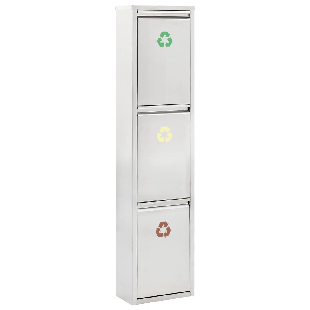 vidaXL Coș de gunoi pentru reciclare, argintiu, oțel inoxidabil, 24 L vidaxl.ro