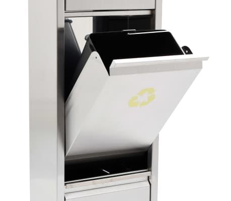 vidaXL Koš za ločevanje odpadkov srebrn nerjaveče jeklo 3x8 L[7/7]