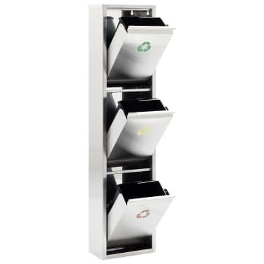 vidaXL Koš za ločevanje odpadkov srebrn nerjaveče jeklo 3x8 L[3/7]