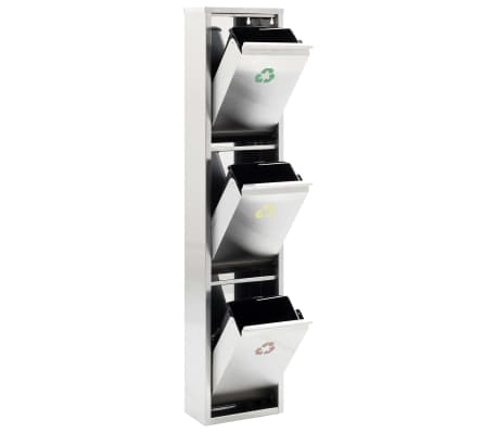 vidaXL Coș de gunoi pentru reciclare, argintiu, oțel inoxidabil, 3x15L[3/7]