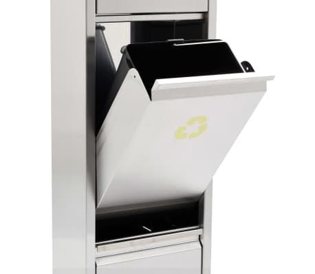 vidaXL Coș de gunoi pentru reciclare, argintiu, oțel inoxidabil, 3x15L[7/7]