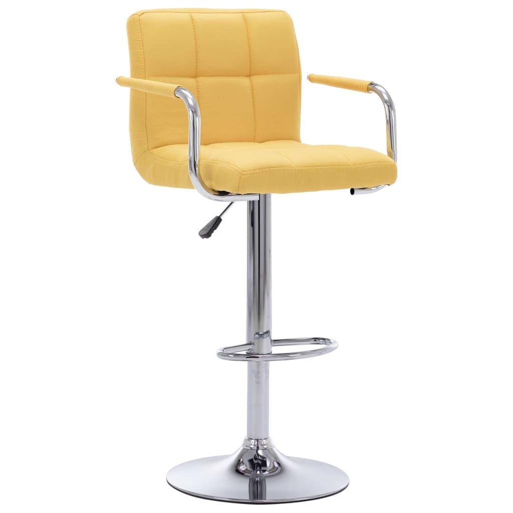 vidaXL Chaise de bar Jaune Tissu