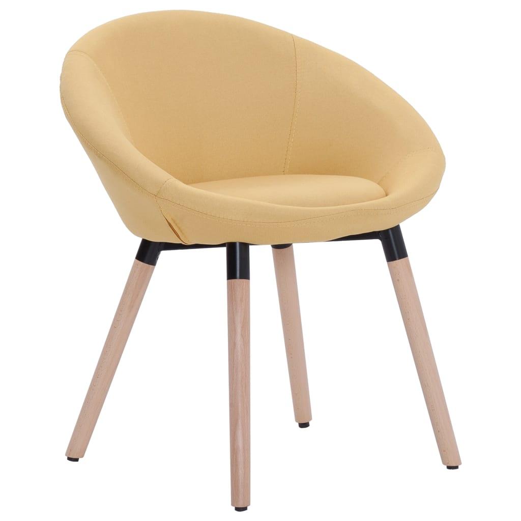 vidaXL Καρέκλα Τραπεζαρίας Κίτρινη Υφασμάτινη