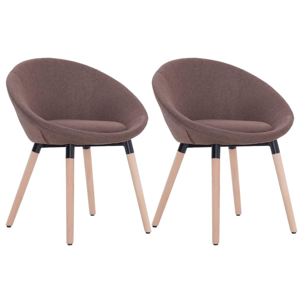 vidaXL Καρέκλες Τραπεζαρίας 2 τεμ. Καφέ Υφασμάτινες