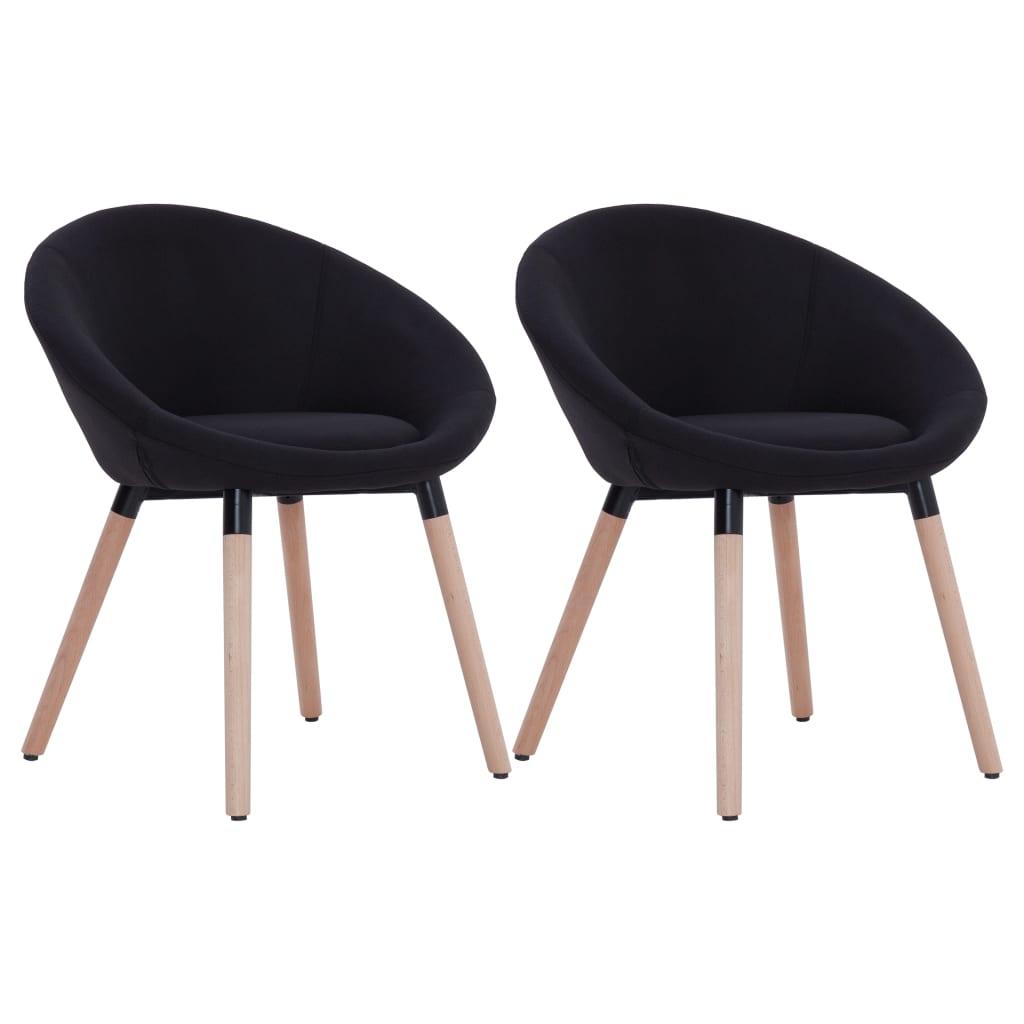 vidaXL Καρέκλες Τραπεζαρίας 2 τεμ. Μαύρες Υφασμάτινες