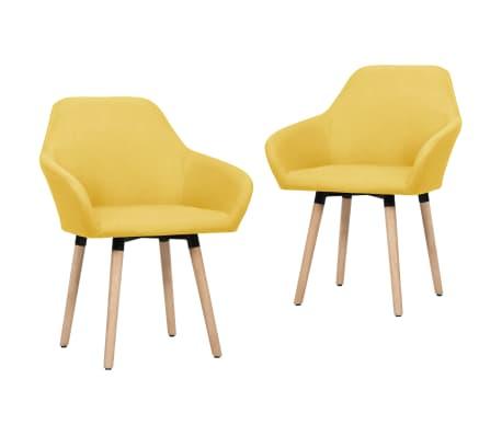 vidaXL Трапезни столове, 2 бр, жълти, плат
