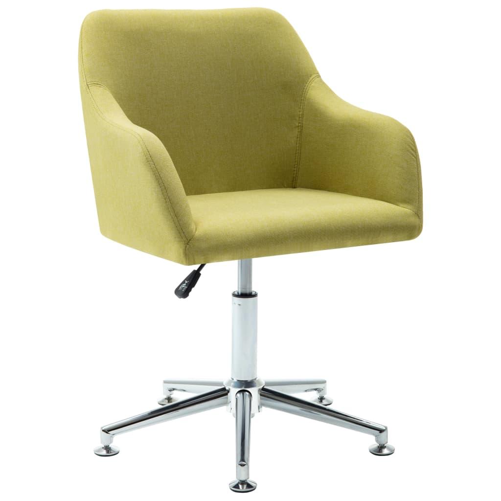 vidaXL Καρέκλα Τραπεζαρίας Περιστρεφόμενη Πράσινη Υφασμάτινη