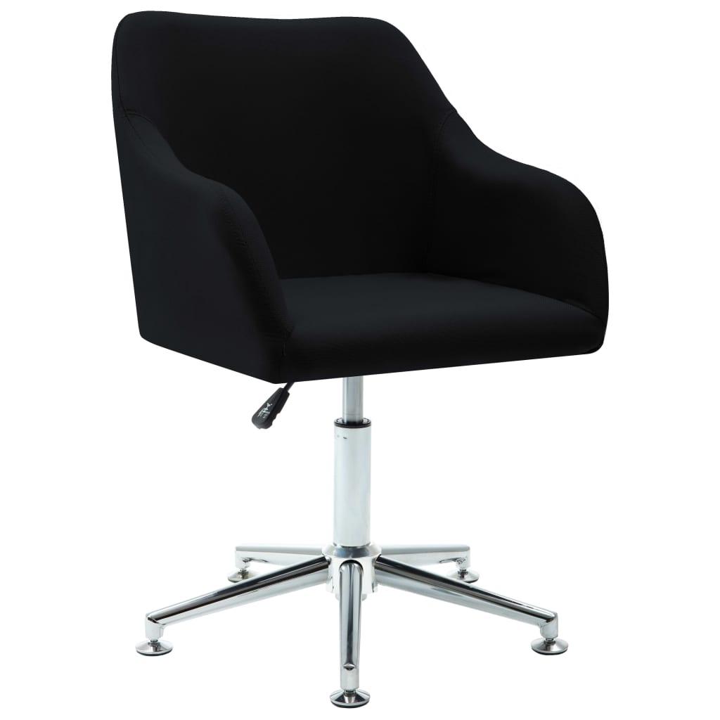 vidaXL Καρέκλα Τραπεζαρίας Περιστρεφόμενη Μαύρη Υφασμάτινη