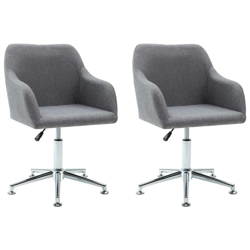 vidaXL Καρέκλες Τραπεζαρίας Περιστρεφόμενες 2 τεμ Αν. Γκρι Υφασμάτινες