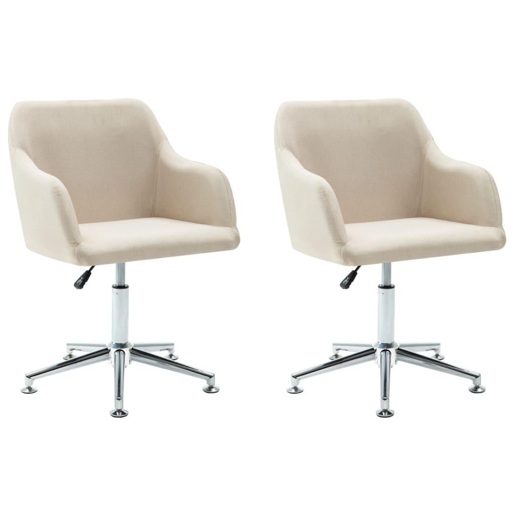vidaXL Καρέκλες Τραπεζαρίας Περιστρεφόμενες 2 τεμ. Κρεμ Υφασμάτινες
