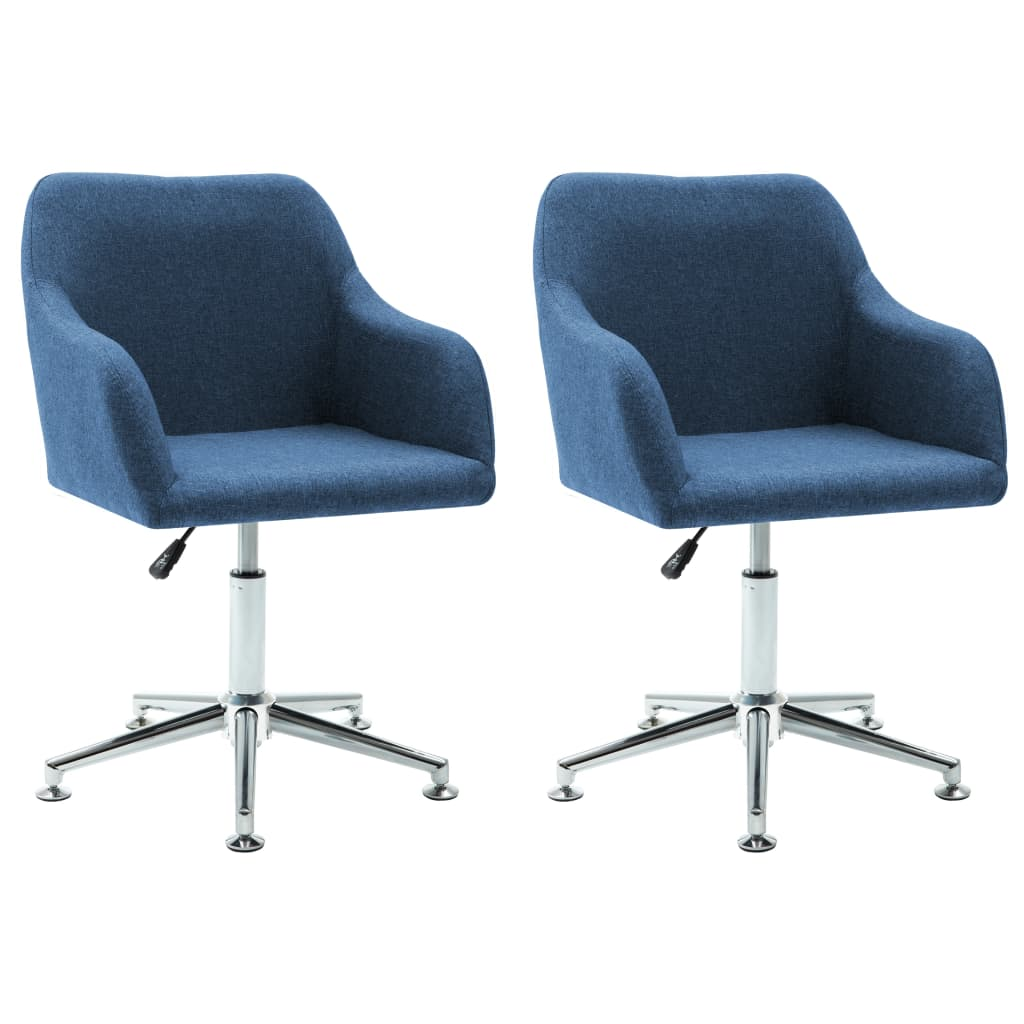 vidaXL Καρέκλες Τραπεζαρίας Περιστρεφόμενες 2 τεμ. Μπλε Υφασμάτινες