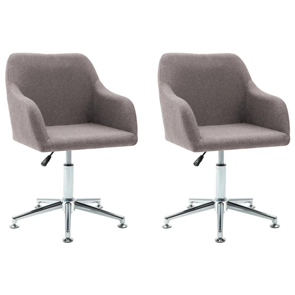 vidaXL Καρέκλες Τραπεζαρίας Περιστρεφόμενες 2 τεμ. Taupe Υφασμάτινες