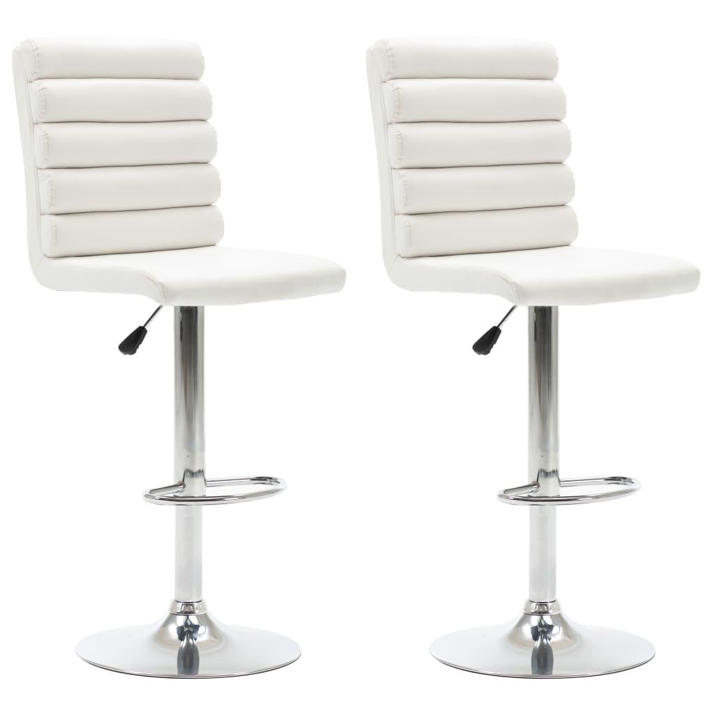 99283516 Barstühle 2 Stk. Weiß Kunstleder