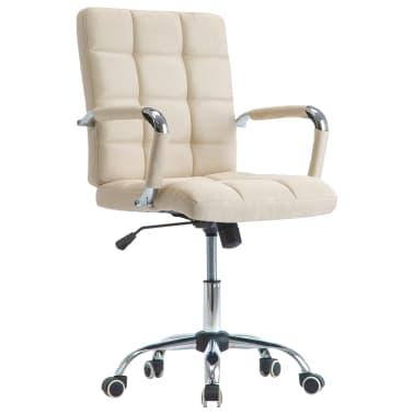 vidaXL Chaise de bureau Crème Tissu[1/7]