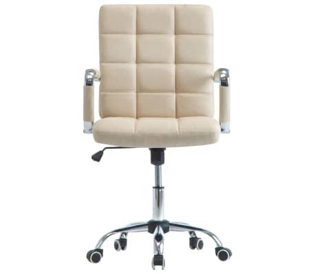 vidaXL Chaise de bureau Crème Tissu[2/7]