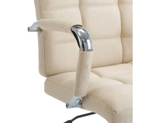 vidaXL Chaise de bureau Crème Tissu[6/7]