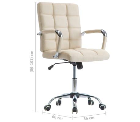 vidaXL Chaise de bureau Crème Tissu[7/7]