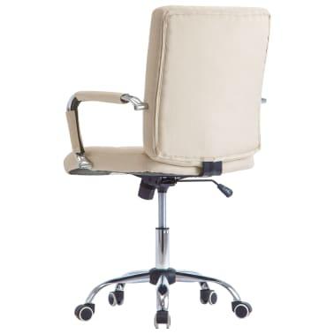 vidaXL Chaise de bureau Crème Tissu[4/7]