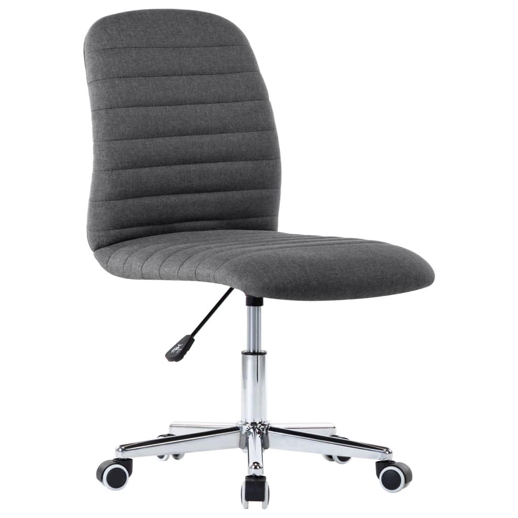 vidaXL Scaun de birou pivotant, gri închis, material textil vidaxl.ro