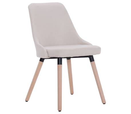 vidaXL Esszimmerstühle 2 Stk. Cremeweiß Stoff[3/8]