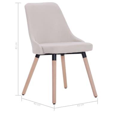 vidaXL Esszimmerstühle 2 Stk. Cremeweiß Stoff[8/8]