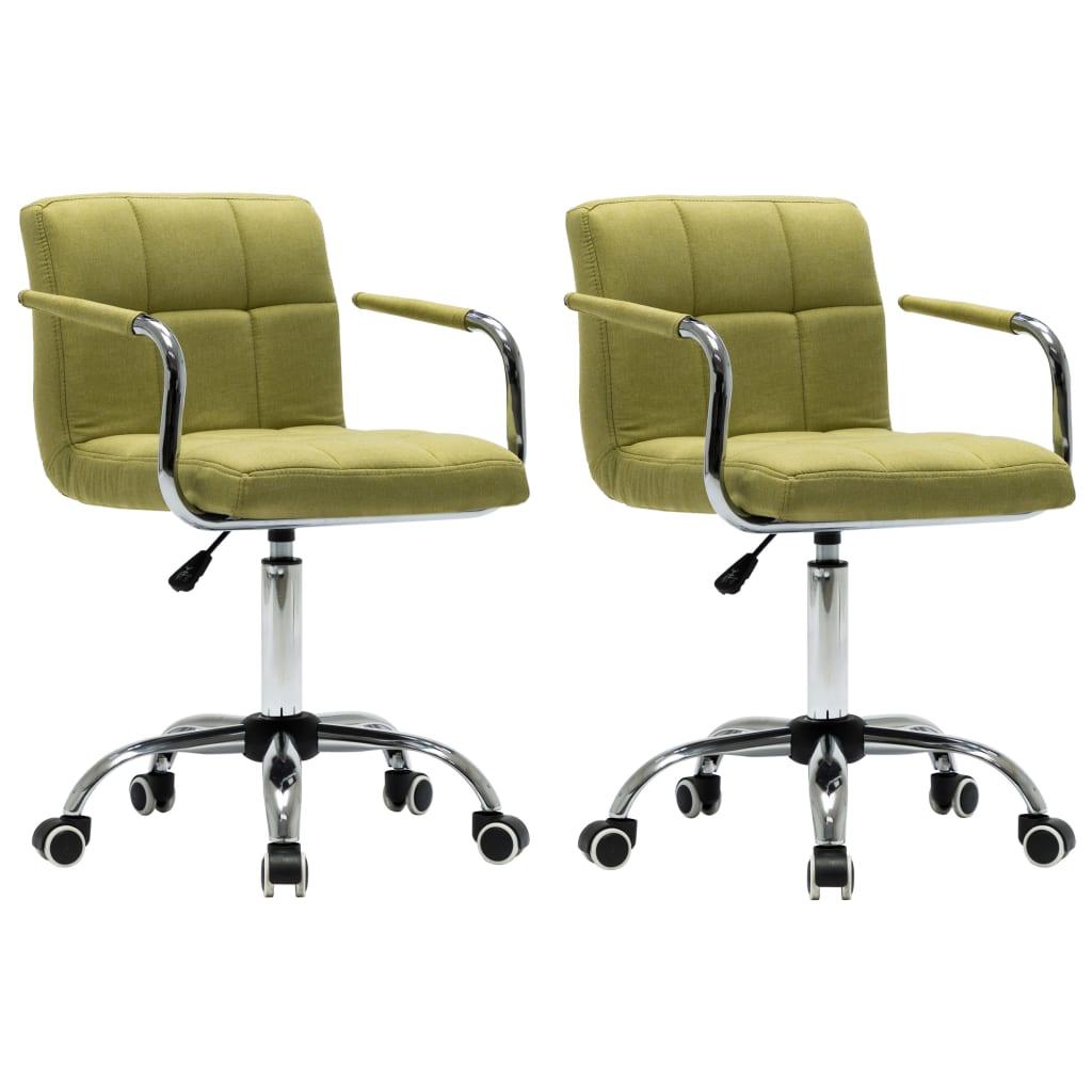 vidaXL Καρέκλες Τραπεζαρίας Περιστρεφόμενες 2 τεμ Πράσινες Υφασμάτινες