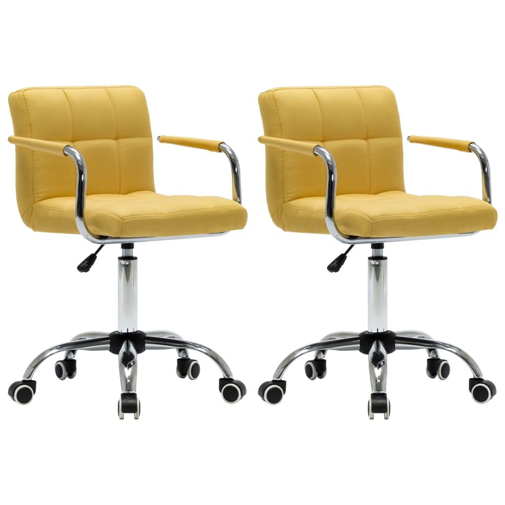vidaXL Καρέκλες Τραπεζαρίας Περιστρεφόμενες 2 τεμ Κίτρινες Υφασμάτινες